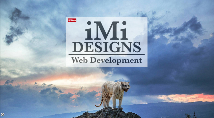 imi web designs screenshot tiger on rock with sky backdrop