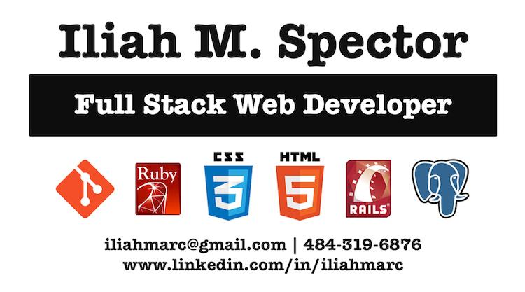 Iliah M. Spector Full Stack Web Developer Business Card