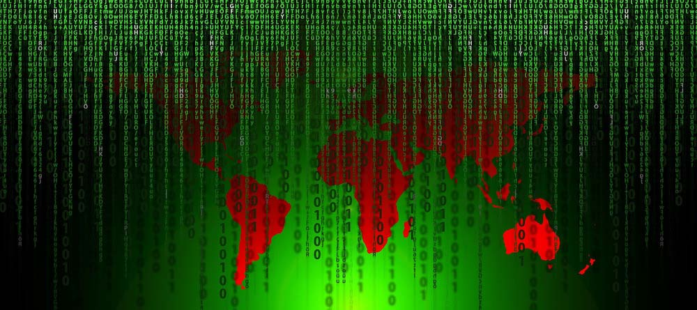 matrix code over red and green world map imi designs