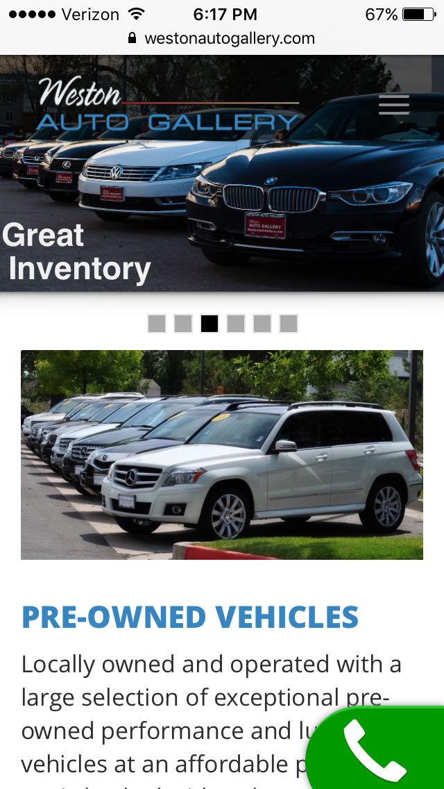 iMi Web Design mobile friendly website Weston Auto Gallery Fort Collins Colorado