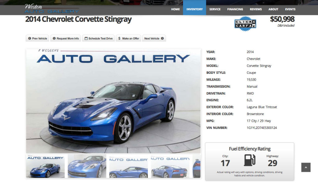 iMi Web Design Portfolio: Weston Auto Gallery Fort Collins Colorado